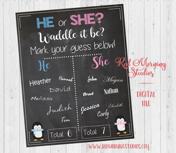 Penguin Gender Reveal Guess sign - PRINTABLE