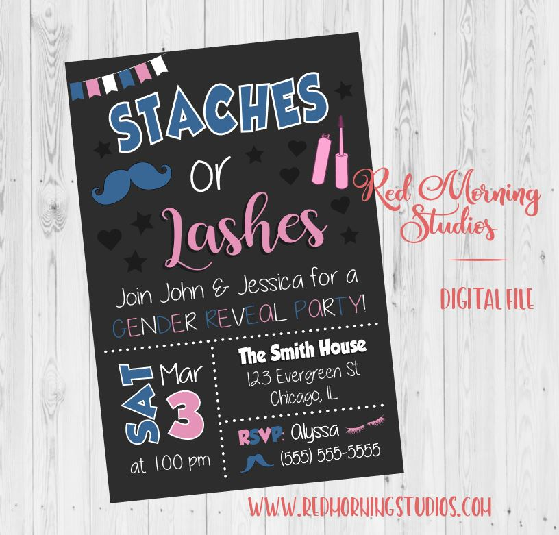 photo relating to Gender Reveal Printable identified as Staches or Lashes Invitation. Gender Describe Social gathering - PRINTABLE