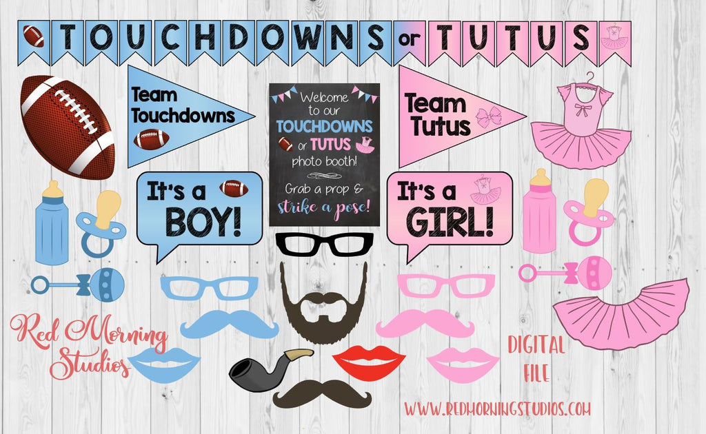 Touchdowns Or Tutus Gender Reveal Photo Booth Props Printable Red