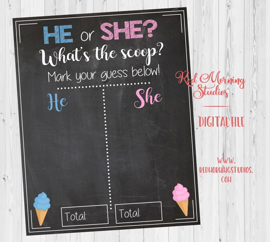 Ice Cream Gender Reveal Guess sign. PRINTABLE. What's the scoop baby shower chalkboard poster boy or girl