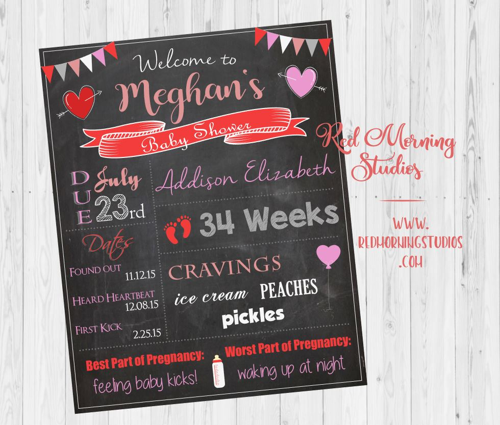 Valentine's Day Baby Shower Welcome Sign. Heart Baby Shower Chalkboard. Valentines Baby Shower decorations games. red pink cupid