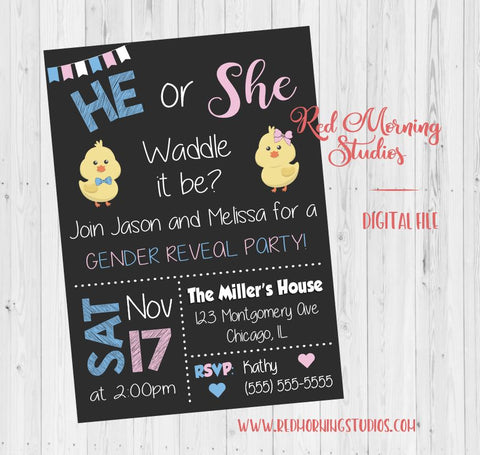 Spring Gender Reveal Party Invitation. PRINTABLE baby shower invite. Spring chick. Spring gender reveal party invite. digital. waddle it be