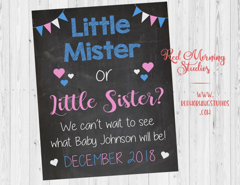 New Sibling Announcement Sign. Gender Reveal pregnancy reveal sign. Little Mister or Little Sister. New baby brother or sister.