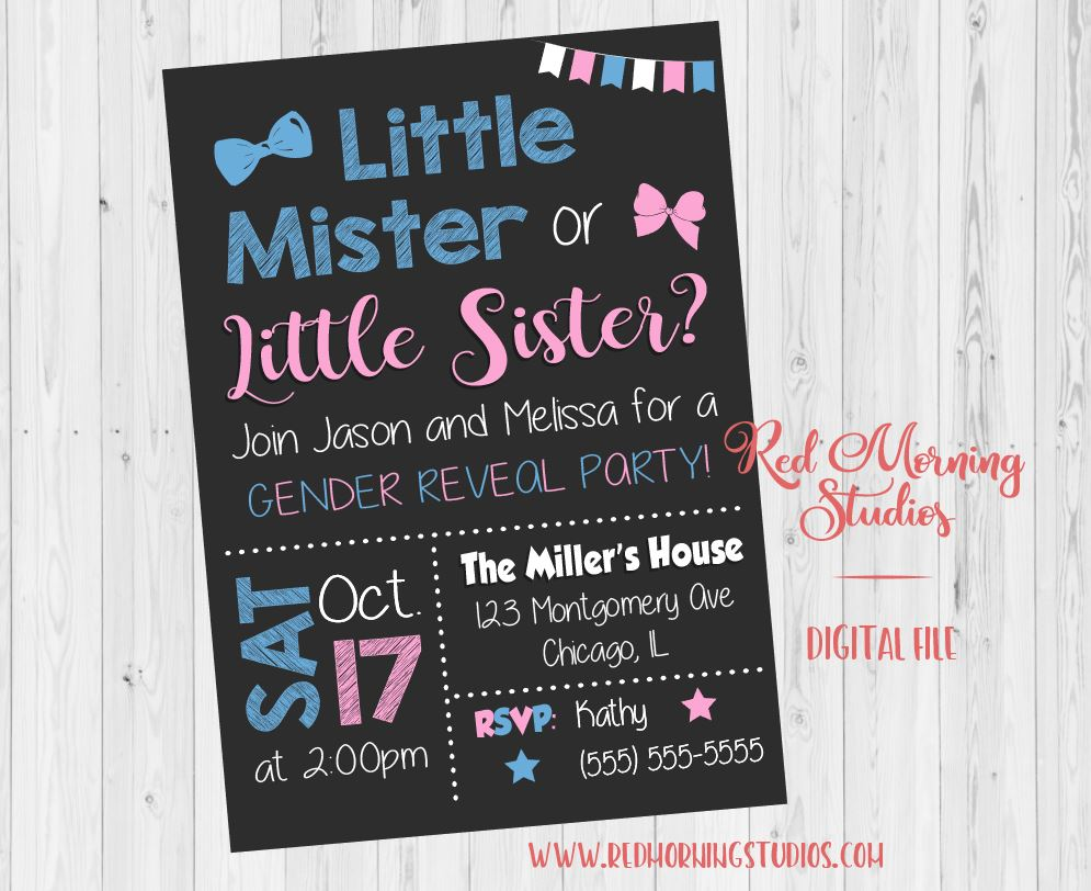 Little Mister or Little Sister Gender Reveal Party Invitation. PRINTABLE. 2nd child baby shower invite. second. sibling digital boy or girl