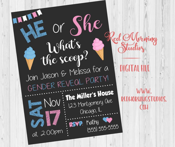 Ice Cream Gender Reveal Party Invitation PRINTABLE baby shower invite digital boy or girl he or she What's the scoop