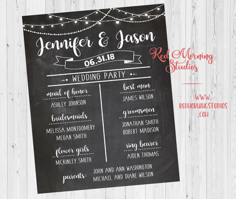 Bridal Party Program sign. Wedding Party poster. Wedding Party Welcome Sign. Names of bridesmaids groomsmen. chalkboard wedding theme