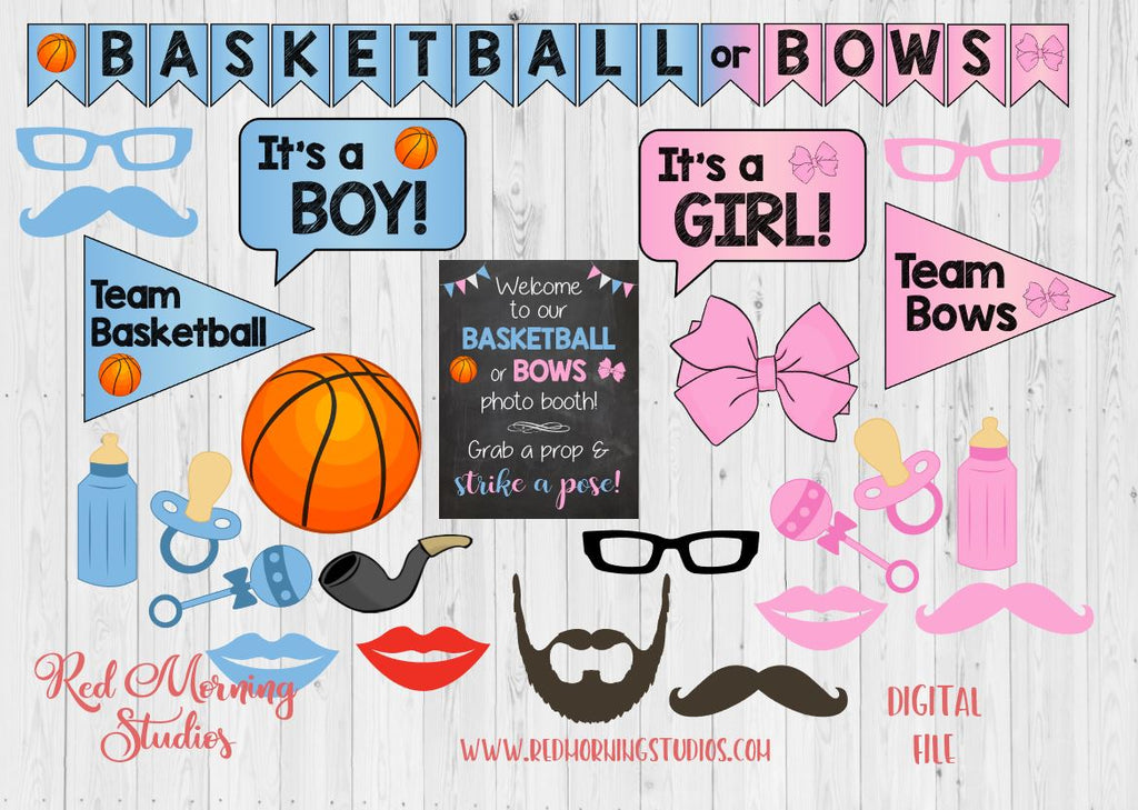 Basketball Or Bows Gender Reveal Photo Booth Props Printable Red