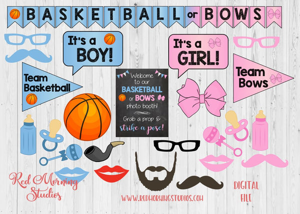 Basketball Or Bows Gender Reveal Photo Booth Props Printable Red Morning Studios