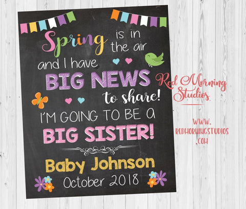 Spring Big Sister Pregnancy Announcement. Spring New Baby sign. oldest child second. Spring pregnancy reveal. sibling. older Sister.