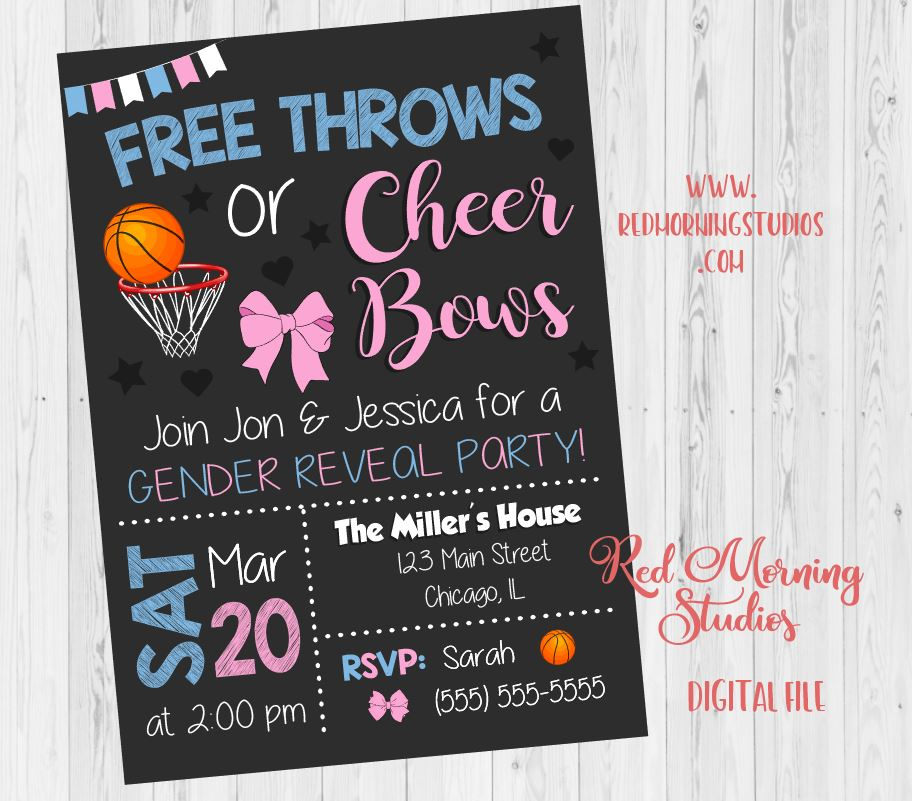 Free Throws or Cheer Bows Invitation. PRINTABLE. Basketball or Bows Gender Reveal Invitation. Basketball or Bows baby shower. invite digital