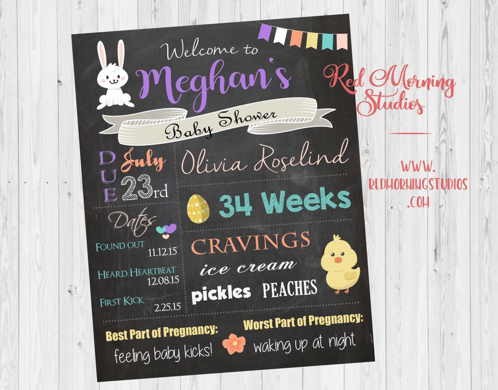 Easter Baby Shower Welcome Sign. Easter baby shower decoration. spring shower game. easter bunny decor. easter chick. PRINTABLE poster.
