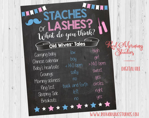 Staches or Lashes Old Wives' Tales sign PRINTABLE Gender Reveal Game. Guess baby shower chalkboard poster boy or girl. stashes or lashes
