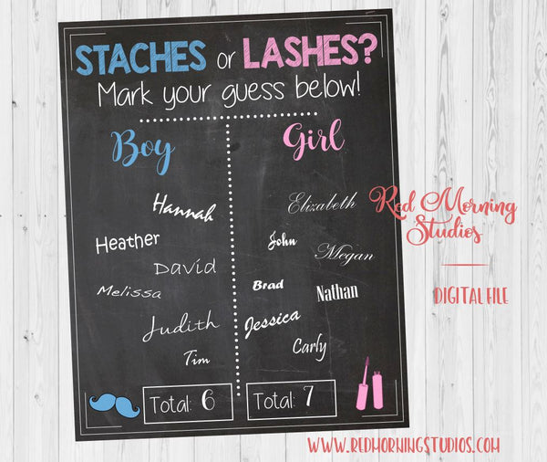 Staches or Lashes Gender Reveal Guess sign - PRINTABLE