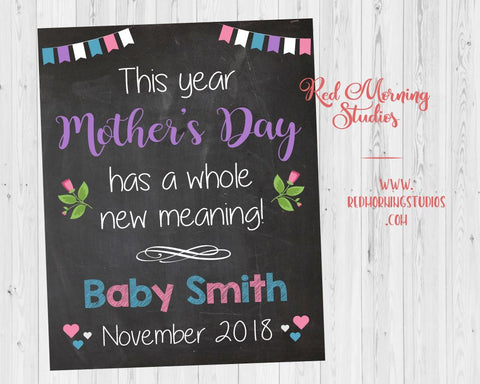 Mother's Day New Baby Announcement sign. First mother's day pregnancy announcement sign. Pregnancy reveal sign for 1st Mother's Day