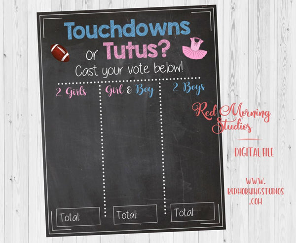Twins Touchdowns or Tutus Gender Reveal Guess sign. Twins football gender reveal. PRINTABLE twins baby shower. twins gender reveal