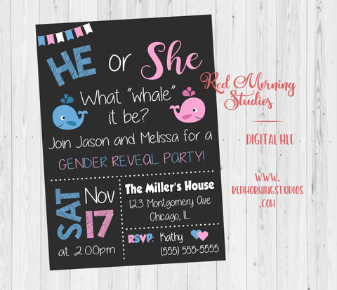 Whale Gender Reveal Invitation. PRINTABLE. He or She, what whale it be. baby shower party invite. digital boy or girl invitation.. nautical