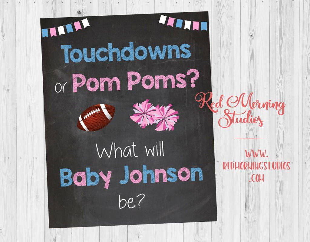 Touchdowns or Pom Poms Welcome sign. PRINTABLE. Gender Reveal Welcome Sign. Football or Cheerleading Sign. Gender Reveal Party decorations