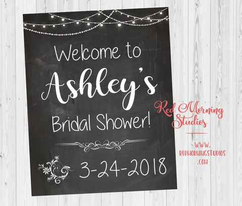 Bridal Shower Welcome sign. Chalkboard Bridal Shower decorations. Black and White Chalk Wedding welcome sign