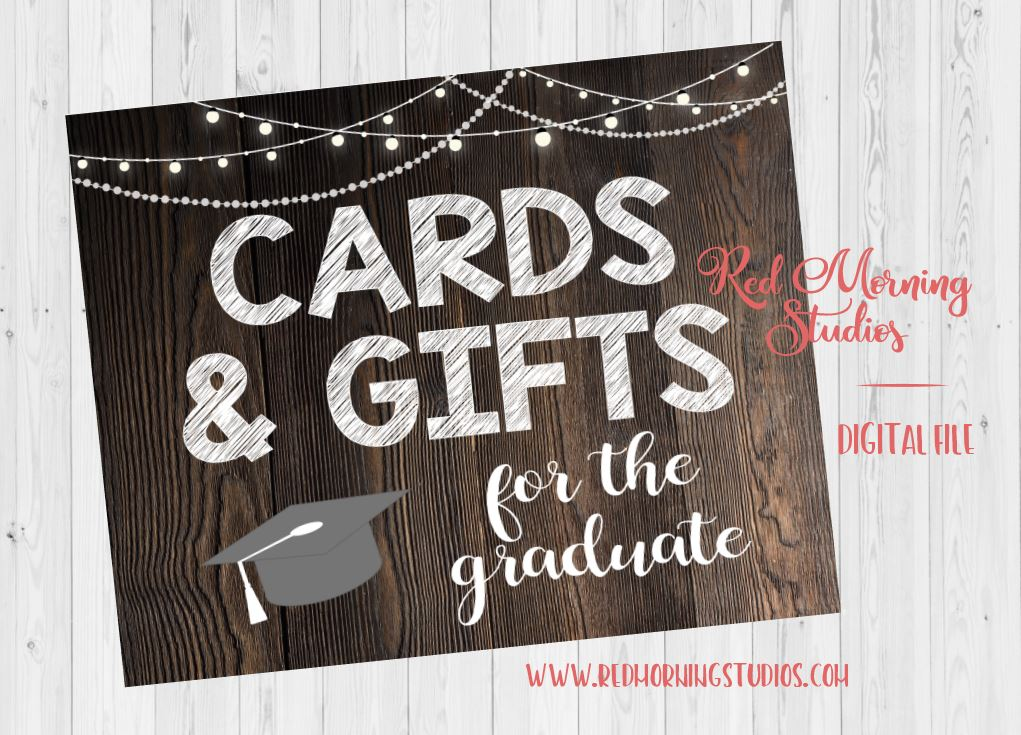 Cards and Gifts Graduation Party sign. PRINTABLE. Cards & Gifts for the Graduate sign. rustic graduation party card table. gift box
