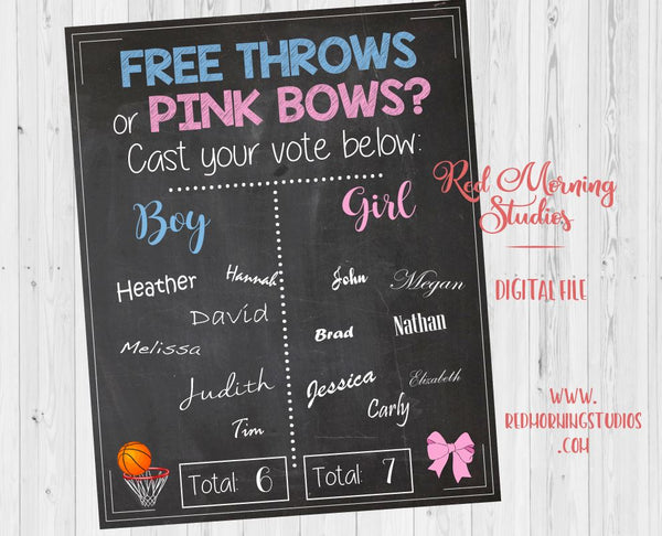 Free Throws or Pink Bows Gender Reveal Guess sign - PRINTABLE