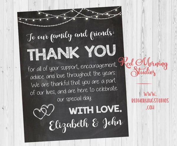 Wedding Thank You sign. chalkboard Wedding Thank You from the newlyweds. PRINTABLE. thank you from the couple poster. wedding reception