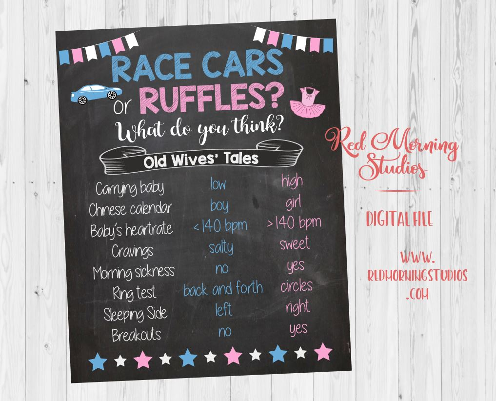 Race Cars or Ruffles Old Wives' Tales sign. PRINTABLE.  racecars car old wives tales Gender Reveal. tutus baby shower poster boy or girl