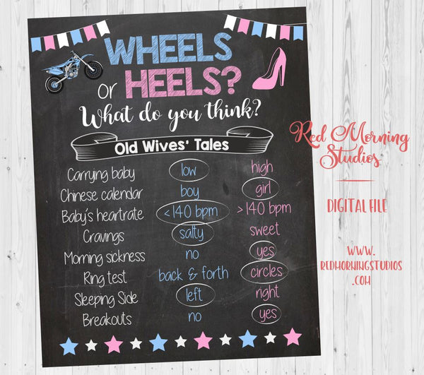 Dirt Bike Wheels or Heels Old Wives' Tales sign - PRINTABLE