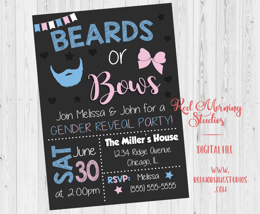 Beards or Bows Gender Reveal Invitation. PRINTABLE. baby shower party invite. digital boy or girl invitation.