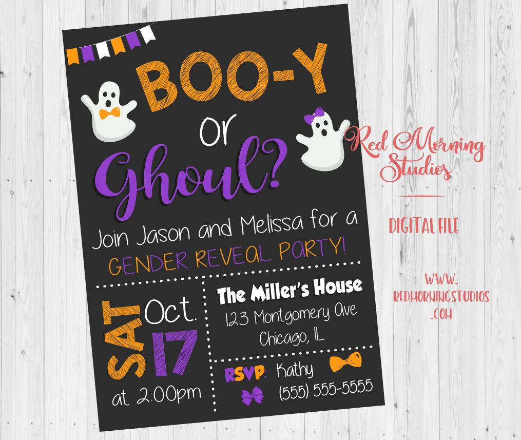 Halloween Gender Reveal Invitation. PRINTABLE. Boo-y or Ghoul gender reveal invitation. ghost baby shower. invite digital