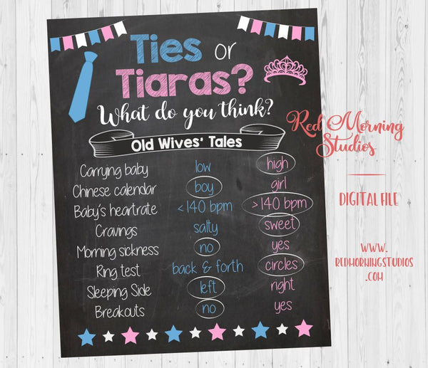 Ties or Tiaras Old Wives' Tales sign - PRINTABLE