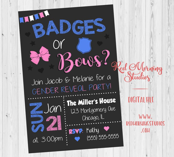 Badges or Bows Gender Reveal Party Invitation. PRINTABLE Police Officer gender reveal invitation. Badges or Bows baby shower