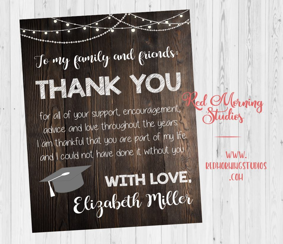 Graduation Party Thank You Sign Rustic Red Morning Studios