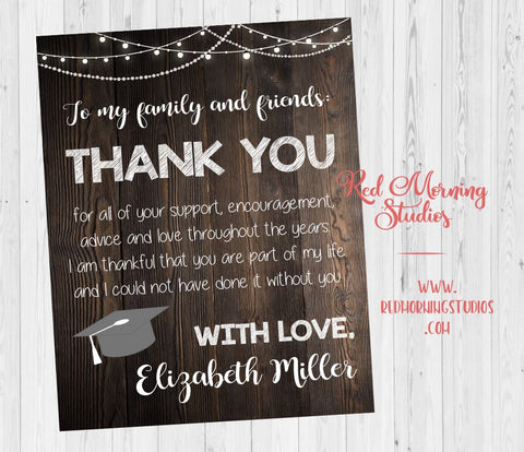 Graduation Party Thank You sign. Thank You from the Graduate poster. PRINTABLE Graduation thanks. rustic Graduation party ideas.