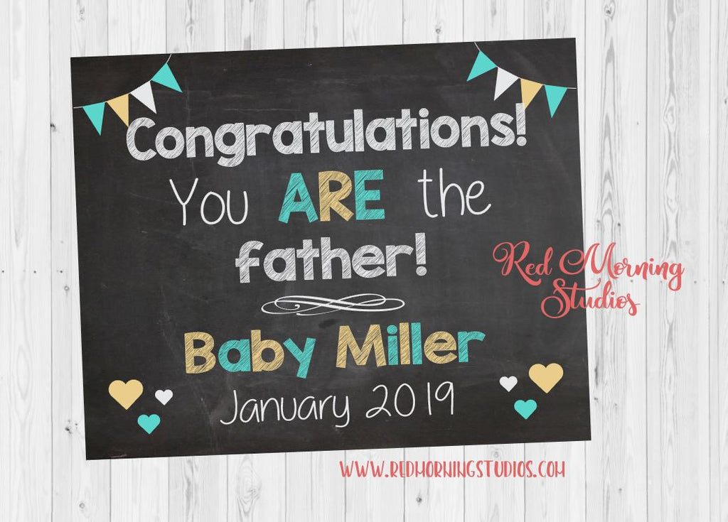 Father's Day Pregnancy Reveal Sign. PRINTABLE Father's Day Pregnancy Announcement chalkboard. new baby poster. father's day card for new dad