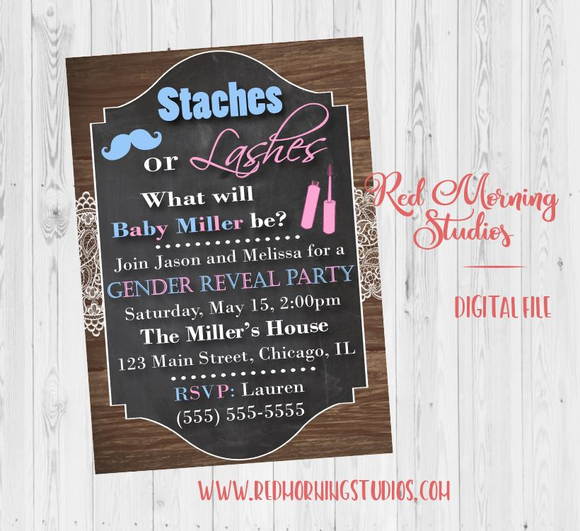 Staches or Lashes Gender Reveal Party Invitation PRINTABLE baby shower invite digital boy or girl. stashes or lashes
