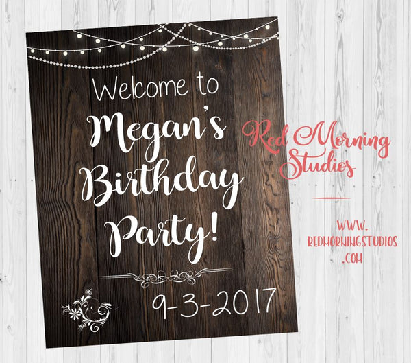 Birthday Party Welcome Sign. printable Birthday party decorations. rustic birthday party decorations. poster teen birthday. adult birthday
