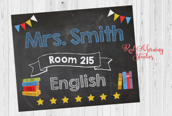 English Teacher Door Sign. PRINTABLE. Teacher Literature name room number sign. Reading teacher Classroom Decor Decorations. Back to School