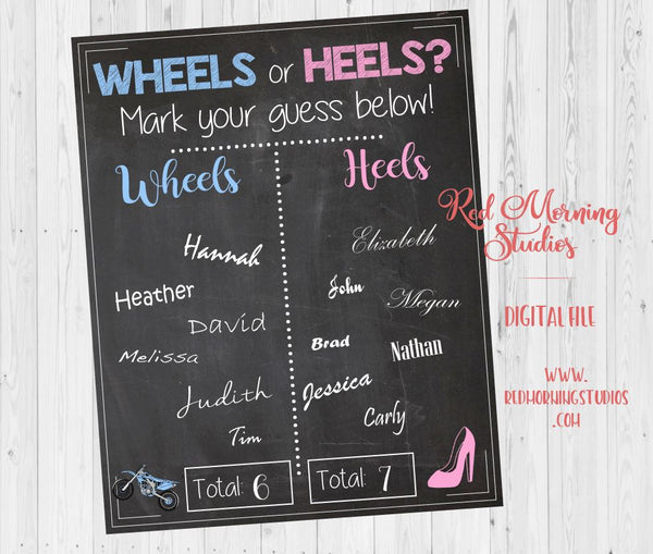 Dirt Bike Wheels or Heels Gender Reveal Guess sign - PRINTABLE