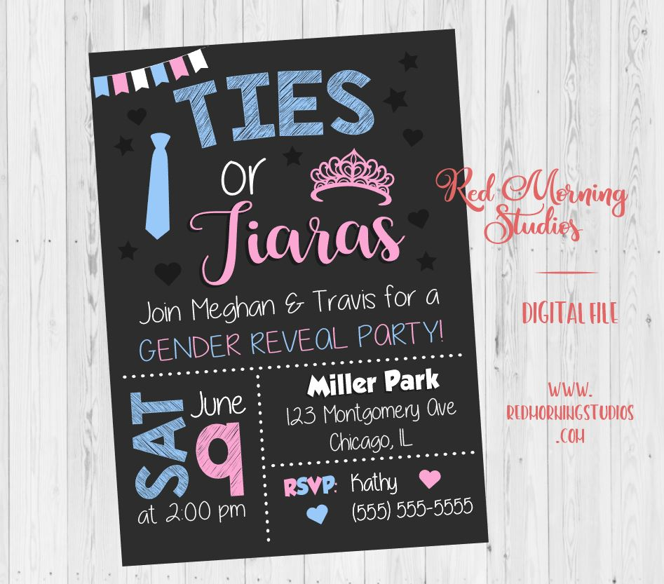 Ties or Tiaras Invitation. Gender Reveal Party Invitation. PRINTABLE baby shower invite. digital boy or girl