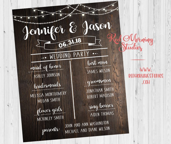 Bridal Party Program sign. Wedding Party poster. rustic Wedding Party Welcome Sign. Names of bridesmaids groomsmen. rustic wedding theme