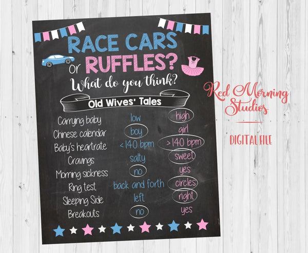 Race Cars or Ruffles Old Wives' Tales sign - PRINTABLE