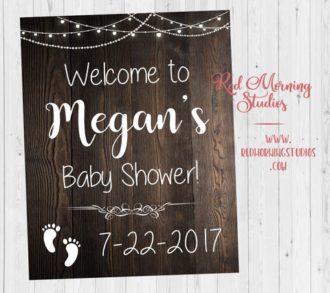 Baby shower Welcome Sign. Rustic Baby shower Decorations. Rustic Baby shower party decorations