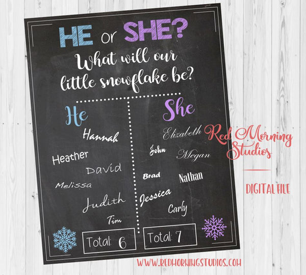 He or She Winter snowflake Gender Reveal Guess sign - PRINTABLE