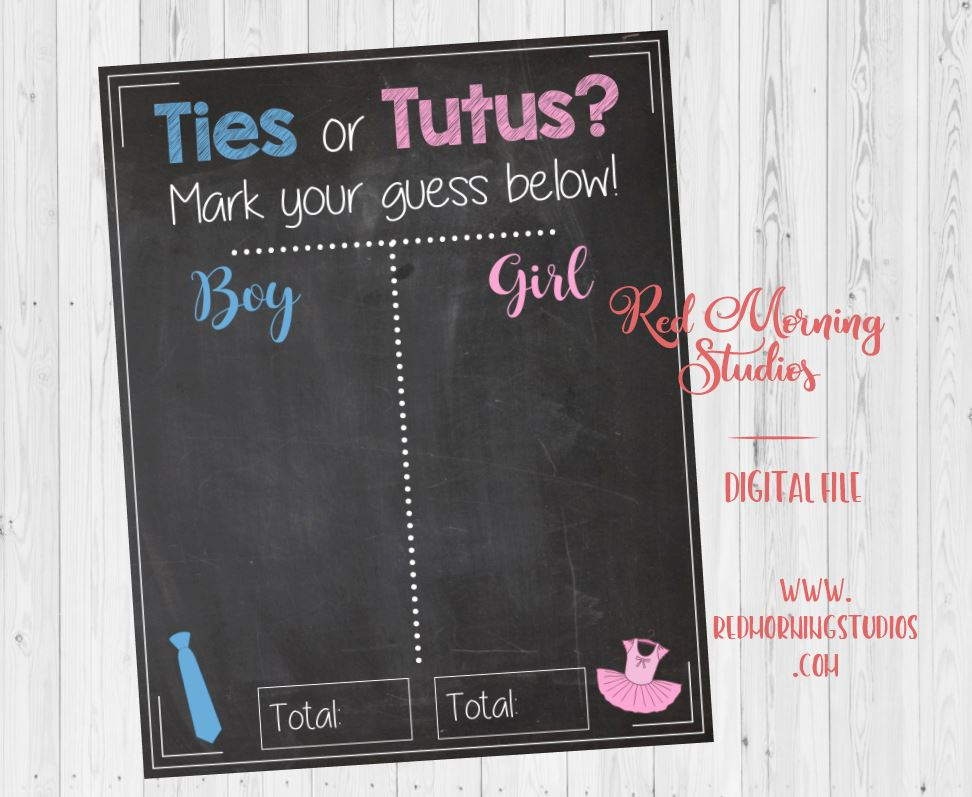 Ties or Tutus. Gender Reveal Guess sign. PRINTABLE baby shower chalkboard poster. boy or girl. Gender Reveal game
