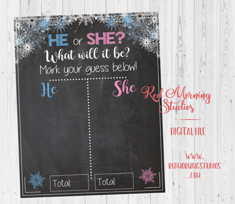 Winter Gender Reveal Guess sign snowflake chalkboard. PRINTABLE He or She baby shower poster boy or girl