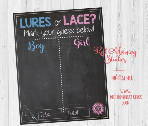 lures or lace Gender Reveal Guess sign. PRINTABLE baby shower chalkboard poster boy or girl