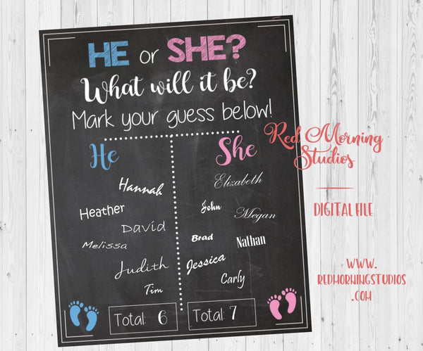 He or She? What Will it Be? Gender Reveal Guess sign - PRINTABLE