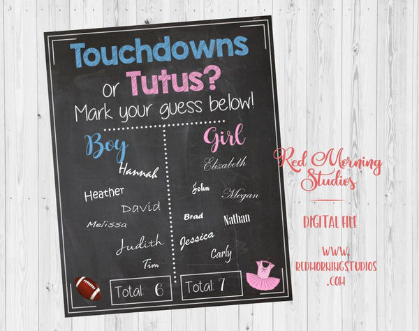Touchdowns or Tutus Gender Reveal Guess sign - PRINTABLE
