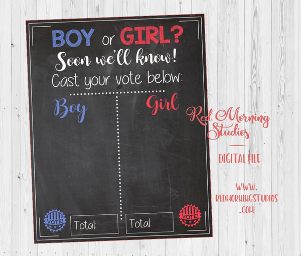 Cast your Vote Reveal Guess sign baby shower chalkboard PRINTABLE poster boy or girl. election. voter