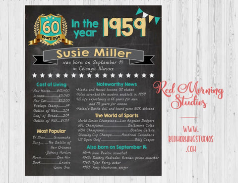 60th Birthday sign. On this day. 1959. year PRINTABLE custom adult birthday party decoration poster. 60th birthday decoration